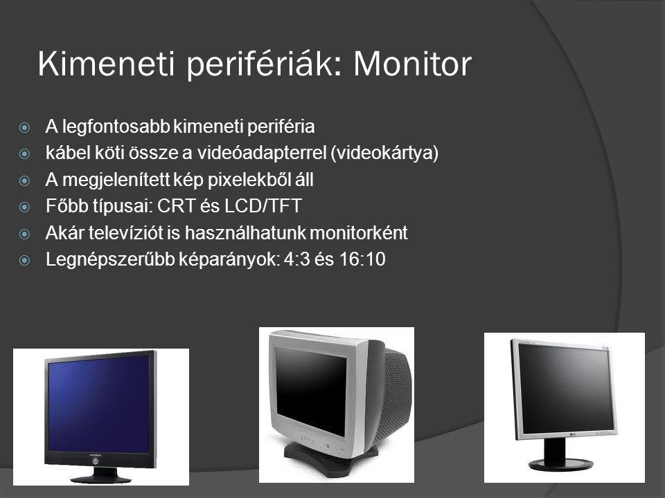 Kimeneti perifériák: Monitor