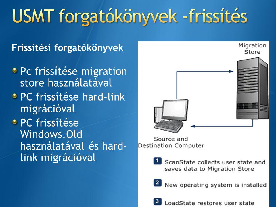 USMT forgatókönyvek -frissítés