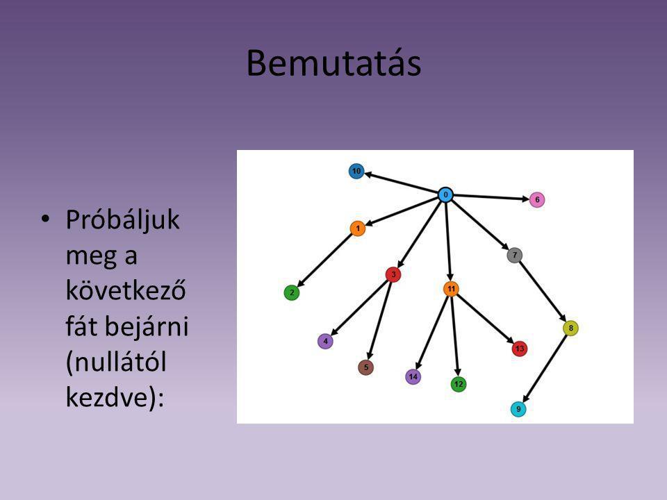 Bemutatás Próbáljuk meg a következő fát bejárni (nullától kezdve):
