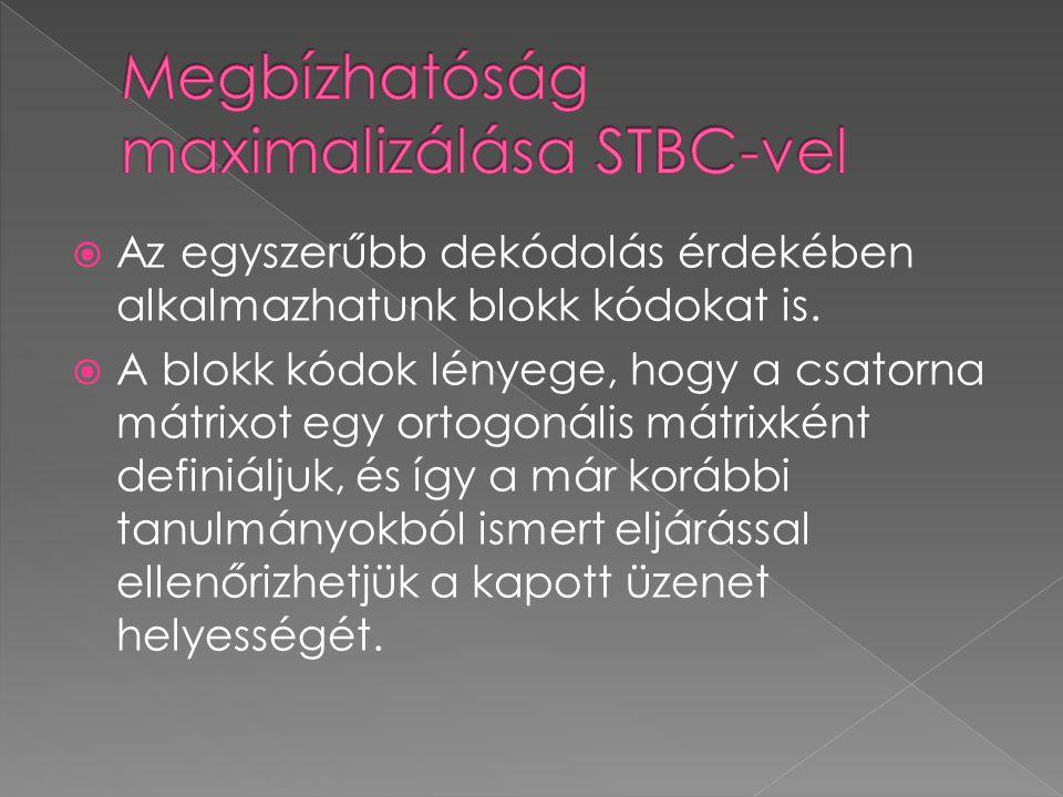 Megbízhatóság maximalizálása STBC-vel