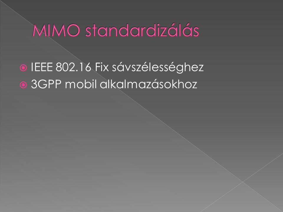 MIMO standardizálás IEEE 802.16 Fix sávszélességhez