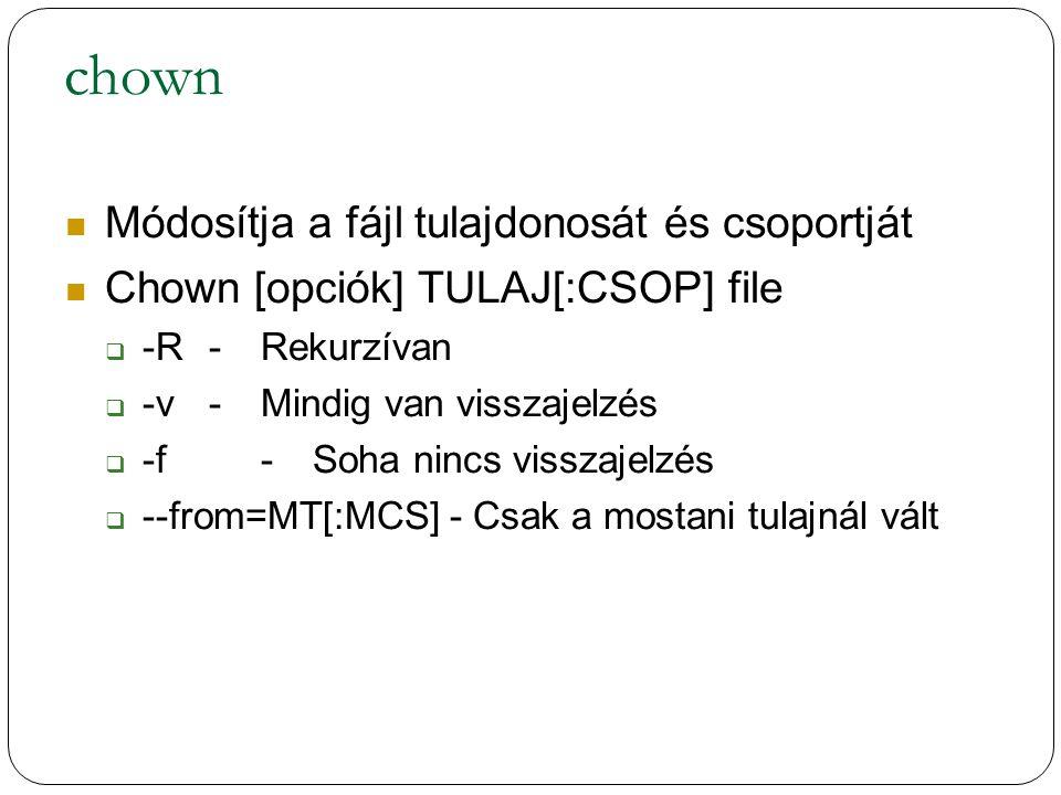 chown Módosítja a fájl tulajdonosát és csoportját