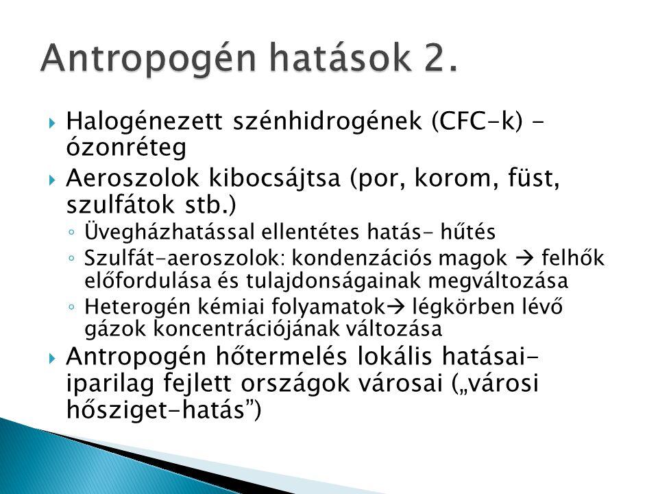 Antropogén hatások 2. Halogénezett szénhidrogének (CFC-k) - ózonréteg