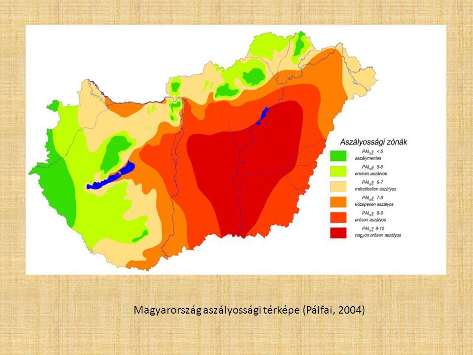 Magyarország aszályossági térképe (Pálfai, 2004)