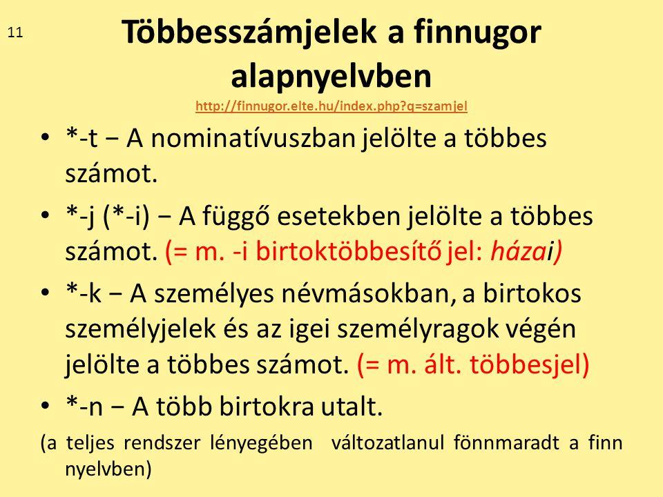 11 Többesszámjelek a finnugor alapnyelvben http://finnugor.elte.hu/index.php q=szamjel. *-t − A nominatívuszban jelölte a többes számot.
