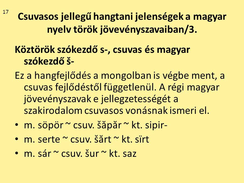 Köztörök szókezdő s-, csuvas és magyar szókezdő š-