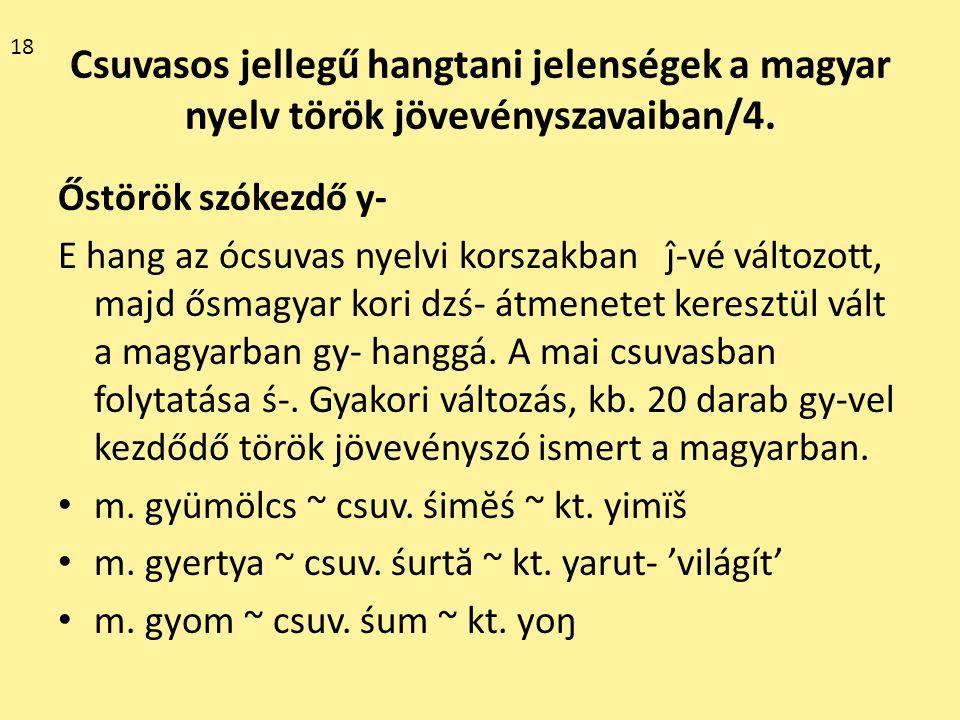 18 Csuvasos jellegű hangtani jelenségek a magyar nyelv török jövevényszavaiban/4. Őstörök szókezdő y-