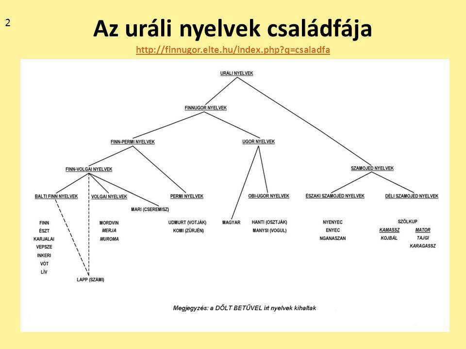 2 Az uráli nyelvek családfája http://finnugor.elte.hu/index.php q=csaladfa