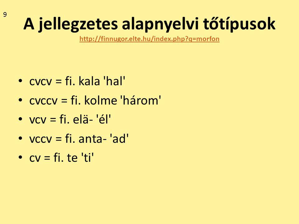 9 A jellegzetes alapnyelvi tőtípusok http://finnugor.elte.hu/index.php q=morfon. cvcv = fi. kala hal