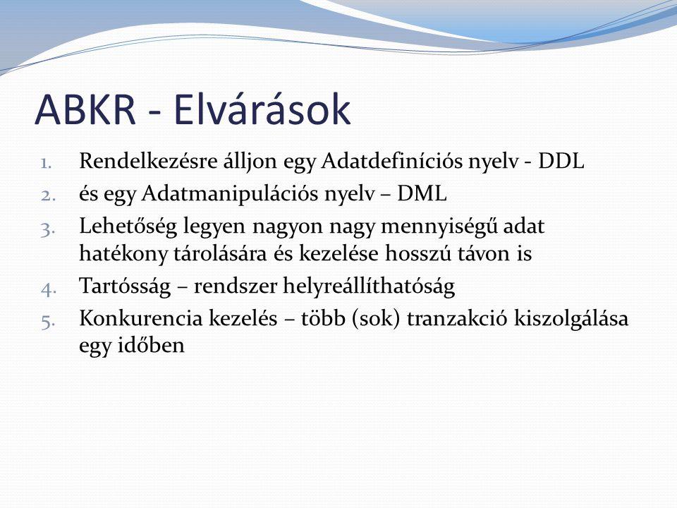 ABKR - Elvárások Rendelkezésre álljon egy Adatdefiníciós nyelv - DDL