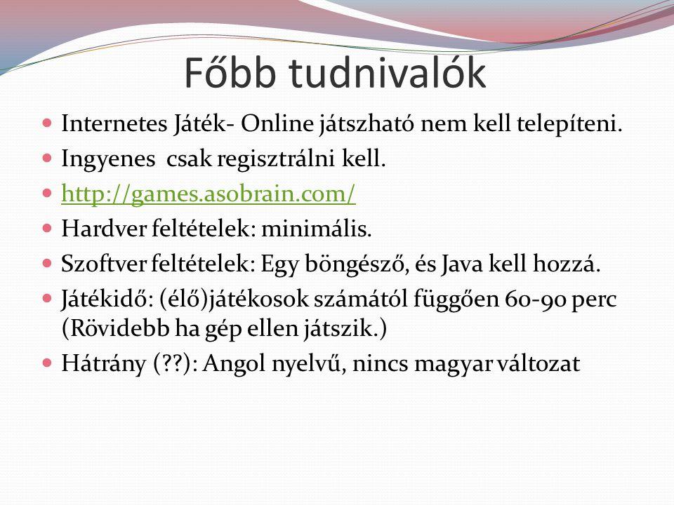 Főbb tudnivalók Internetes Játék- Online játszható nem kell telepíteni. Ingyenes csak regisztrálni kell.