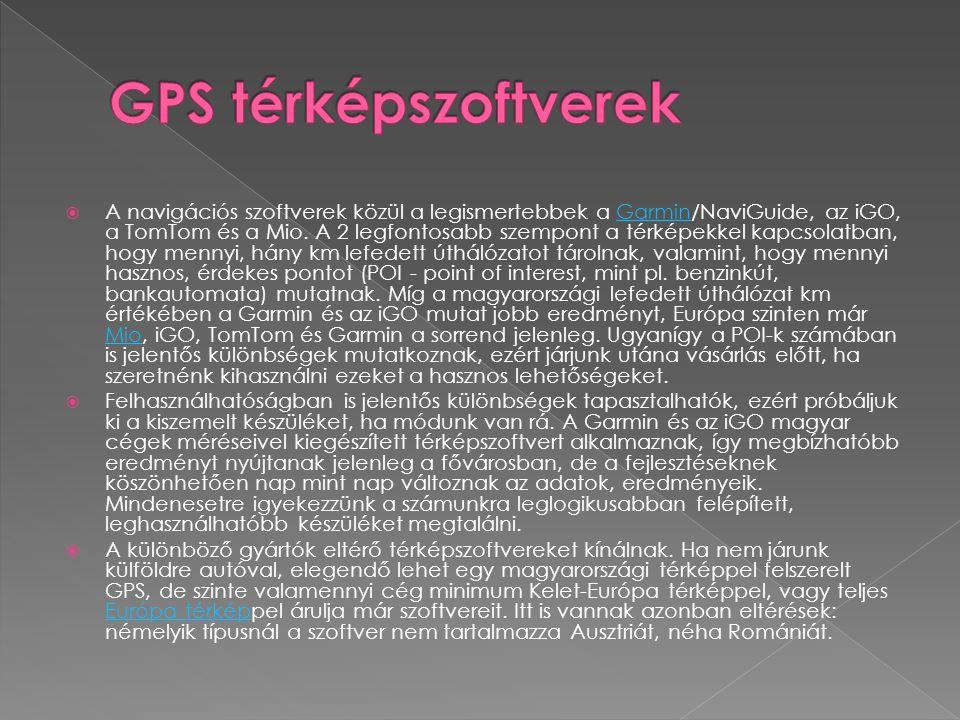 GPS térképszoftverek