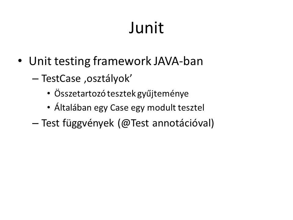 Junit Unit testing framework JAVA-ban TestCase 'osztályok'