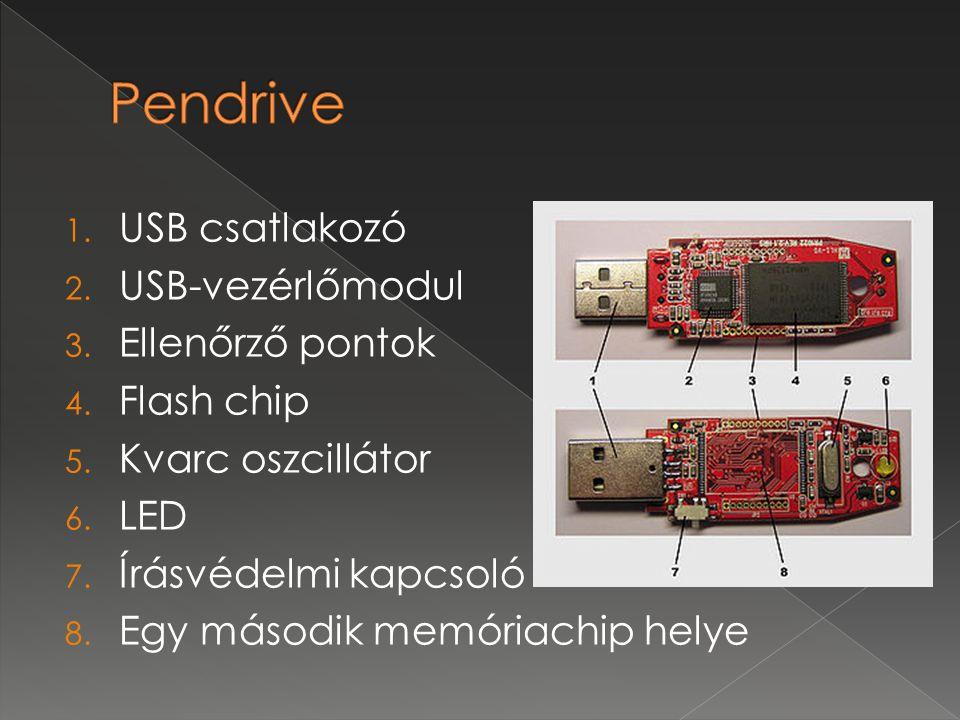 Pendrive USB csatlakozó USB-vezérlőmodul Ellenőrző pontok Flash chip
