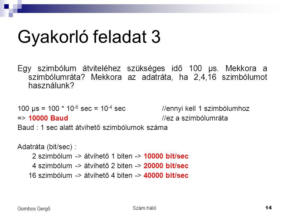 Gyakorló feladat 3 Egy szimbólum átviteléhez szükséges idő 100 µs. Mekkora a szimbólumráta Mekkora az adatráta, ha 2,4,16 szimbólumot használunk