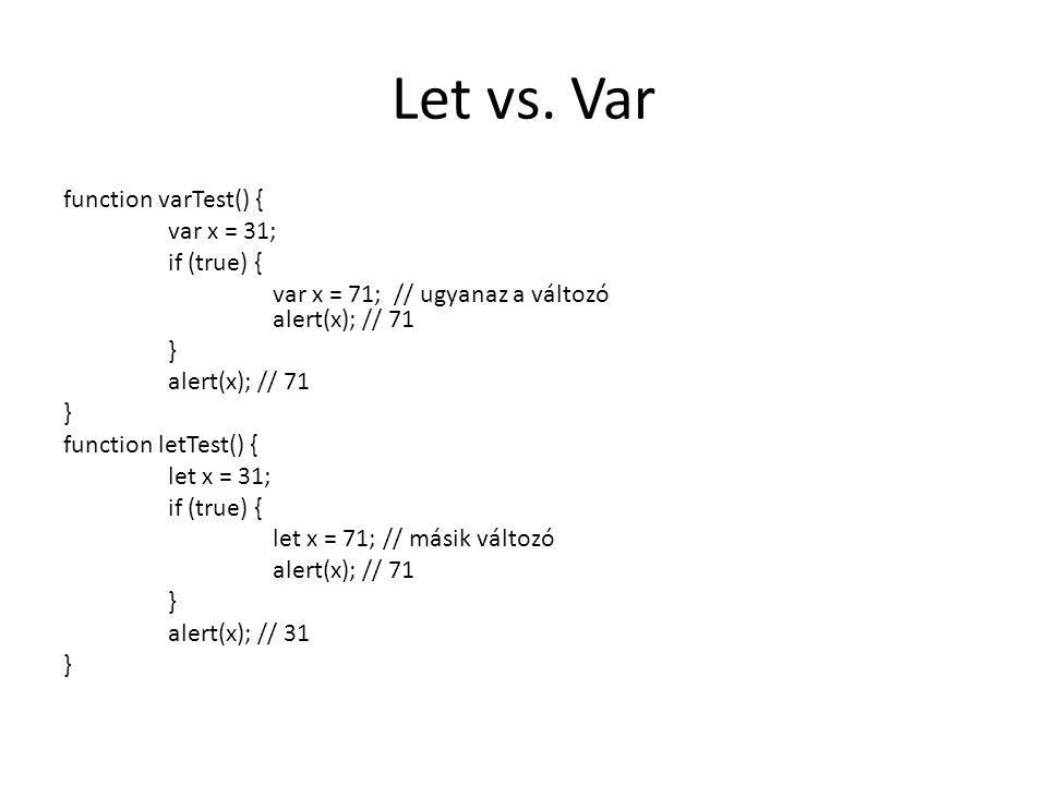 Let vs. Var