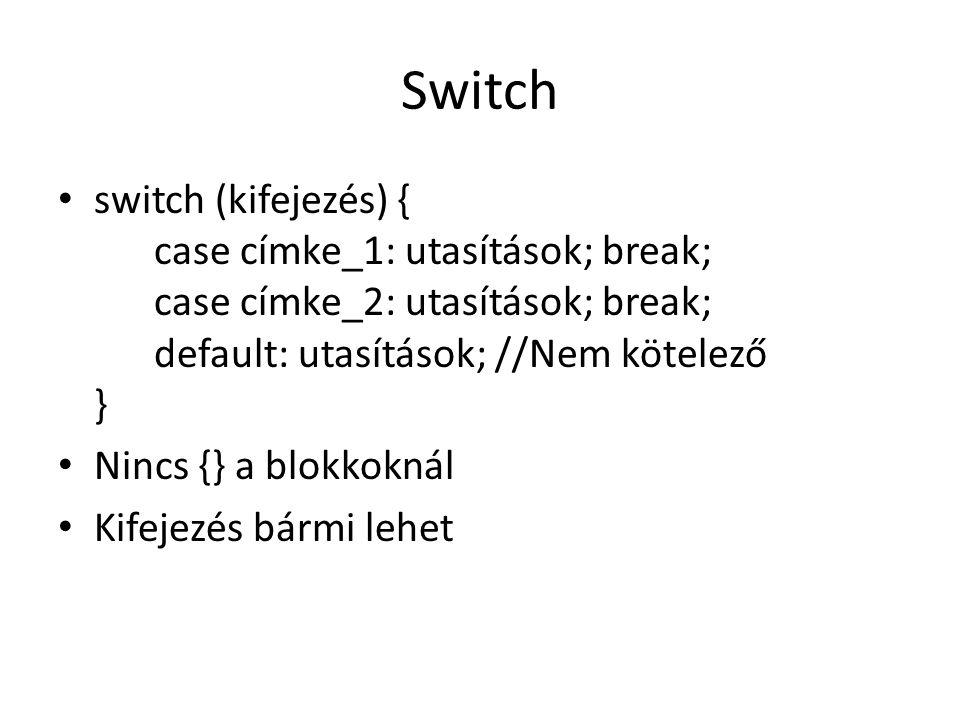 Switch switch (kifejezés) { case címke_1: utasítások; break; case címke_2: utasítások; break; default: utasítások; //Nem kötelező }
