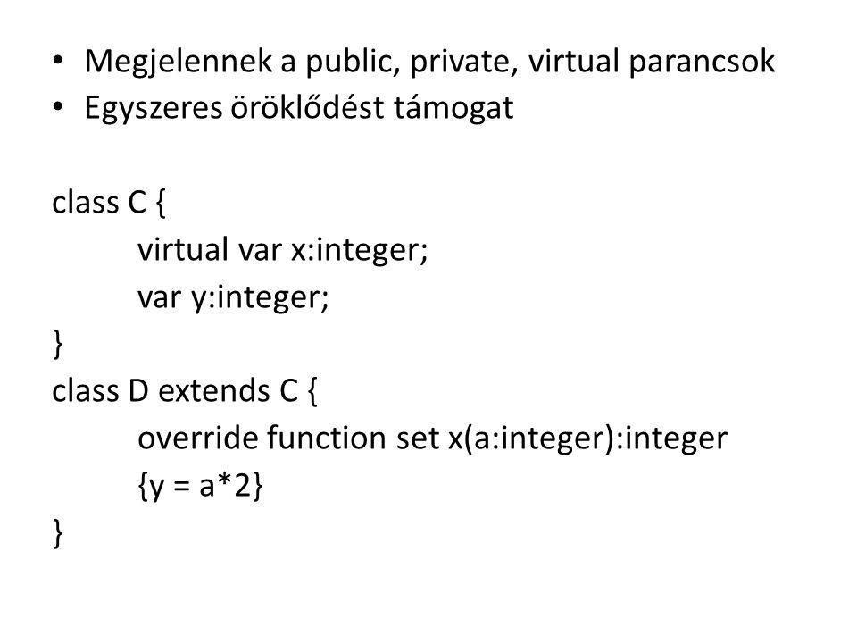 Megjelennek a public, private, virtual parancsok