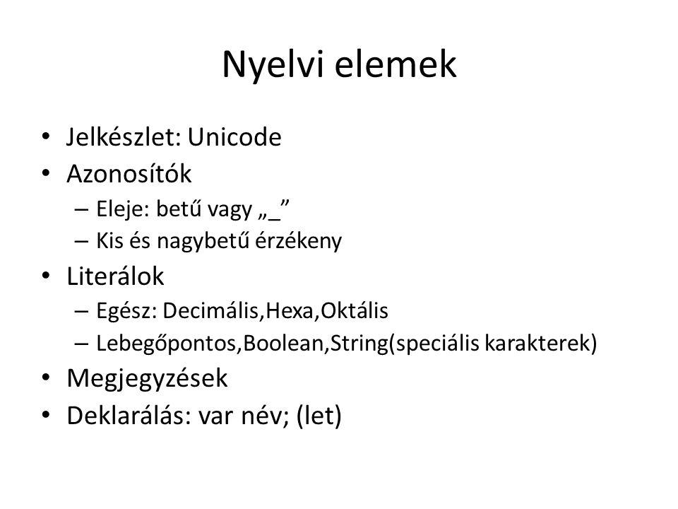 Nyelvi elemek Jelkészlet: Unicode Azonosítók Literálok Megjegyzések