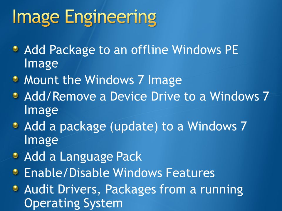 Image Engineering Add Package to an offline Windows PE Image