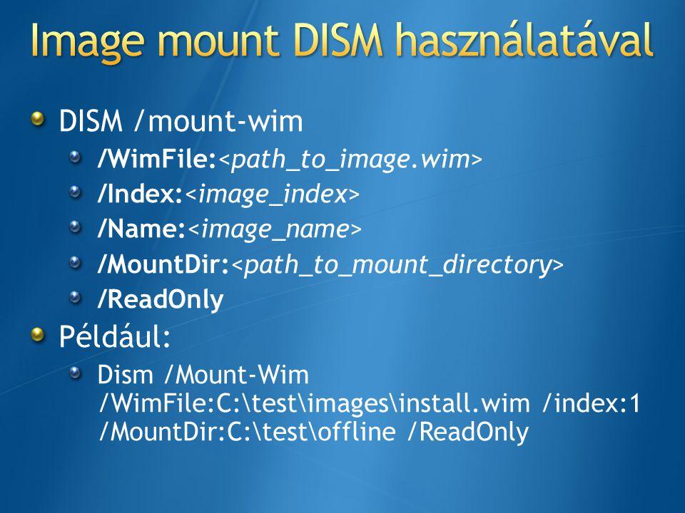 Image mount DISM használatával