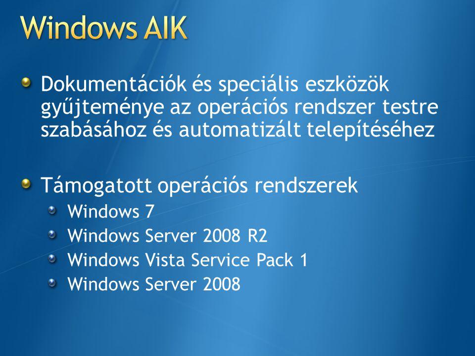 Windows AIK Dokumentációk és speciális eszközök gyűjteménye az operációs rendszer testre szabásához és automatizált telepítéséhez.