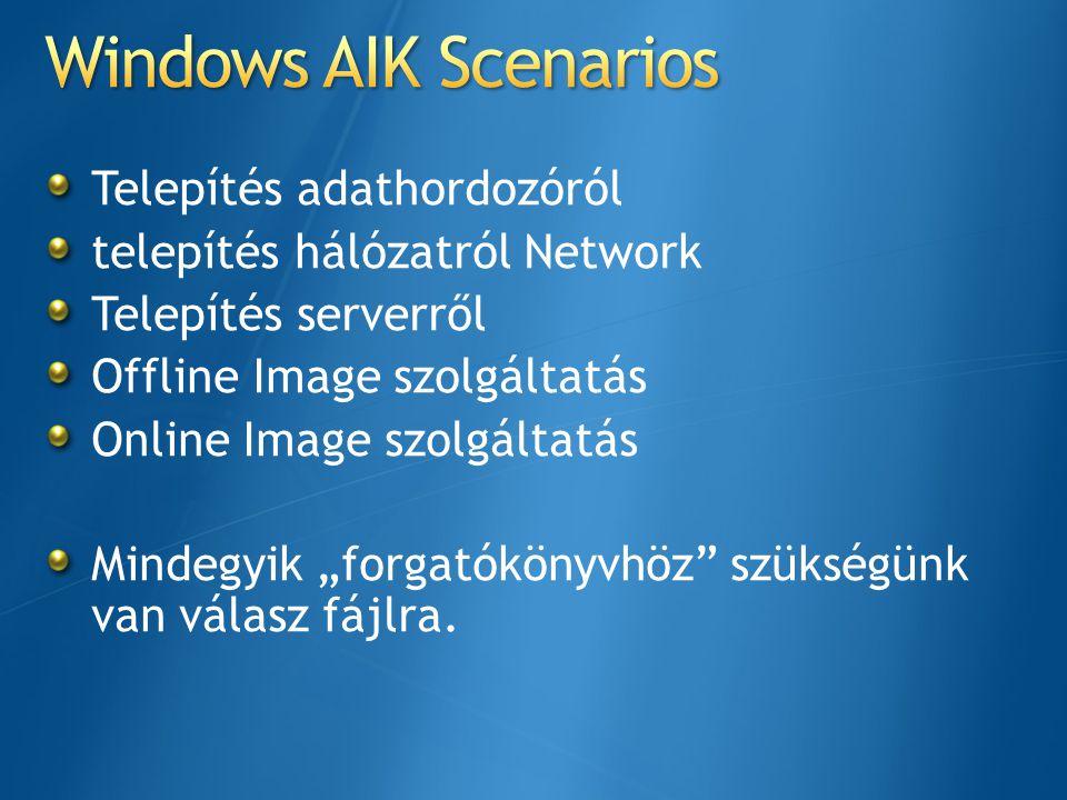 Windows AIK Scenarios Telepítés adathordozóról