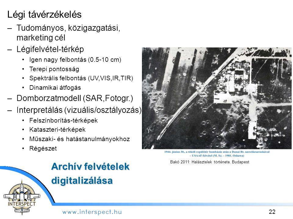 Légi távérzékelés Archív felvételek digitalizálása