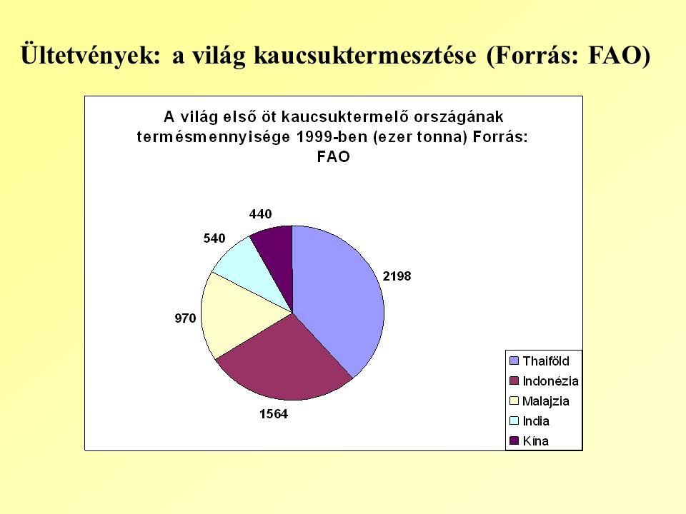 Ültetvények: a világ kaucsuktermesztése (Forrás: FAO)