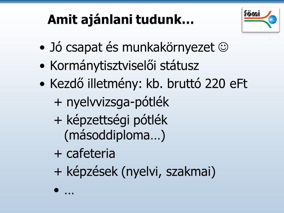 Amit ajánlani tudunk… Jó csapat és munkakörnyezet  Kormánytisztviselői státusz. Kezdő illetmény: kb. bruttó 220 eFt.