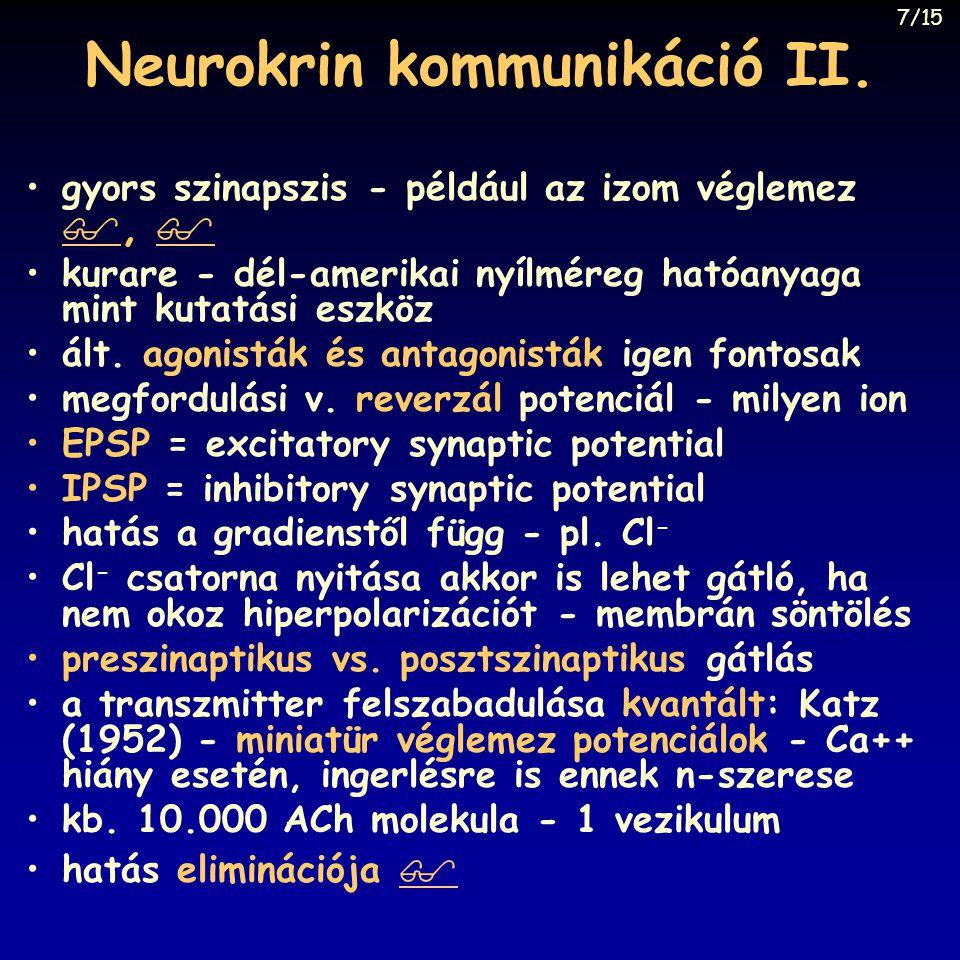 Neurokrin kommunikáció II.