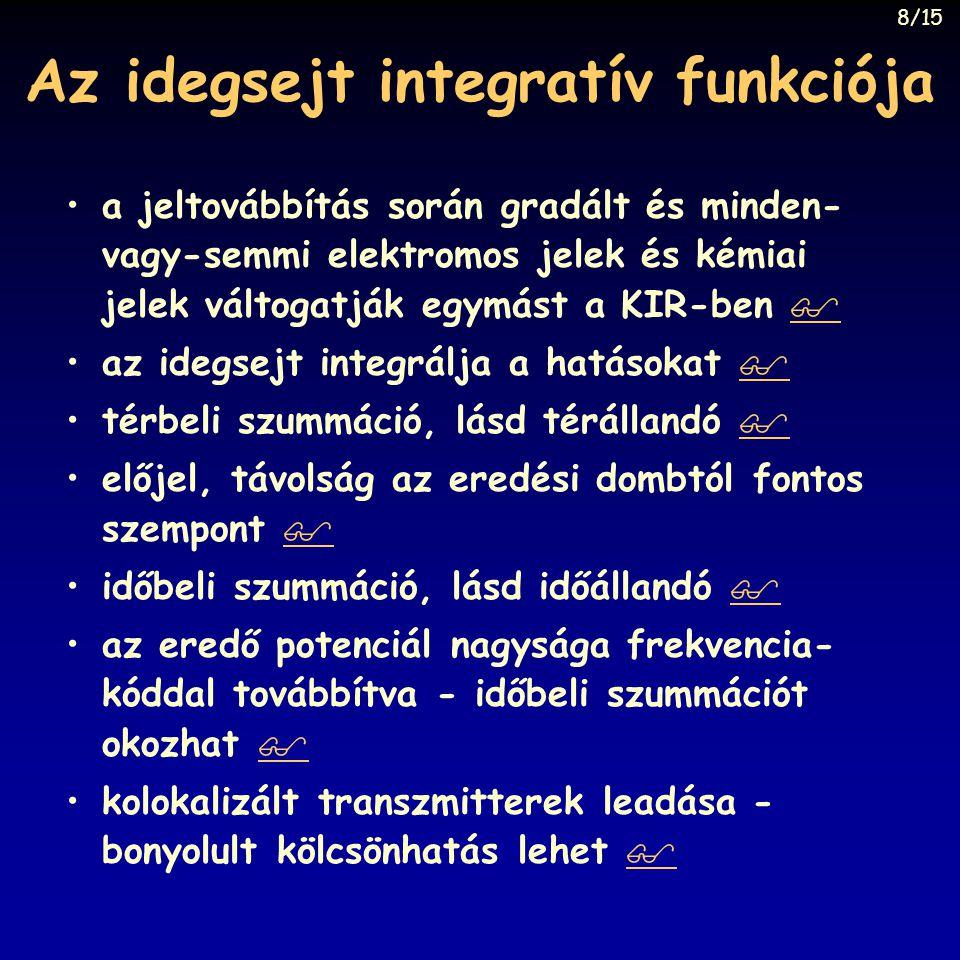 Az idegsejt integratív funkciója