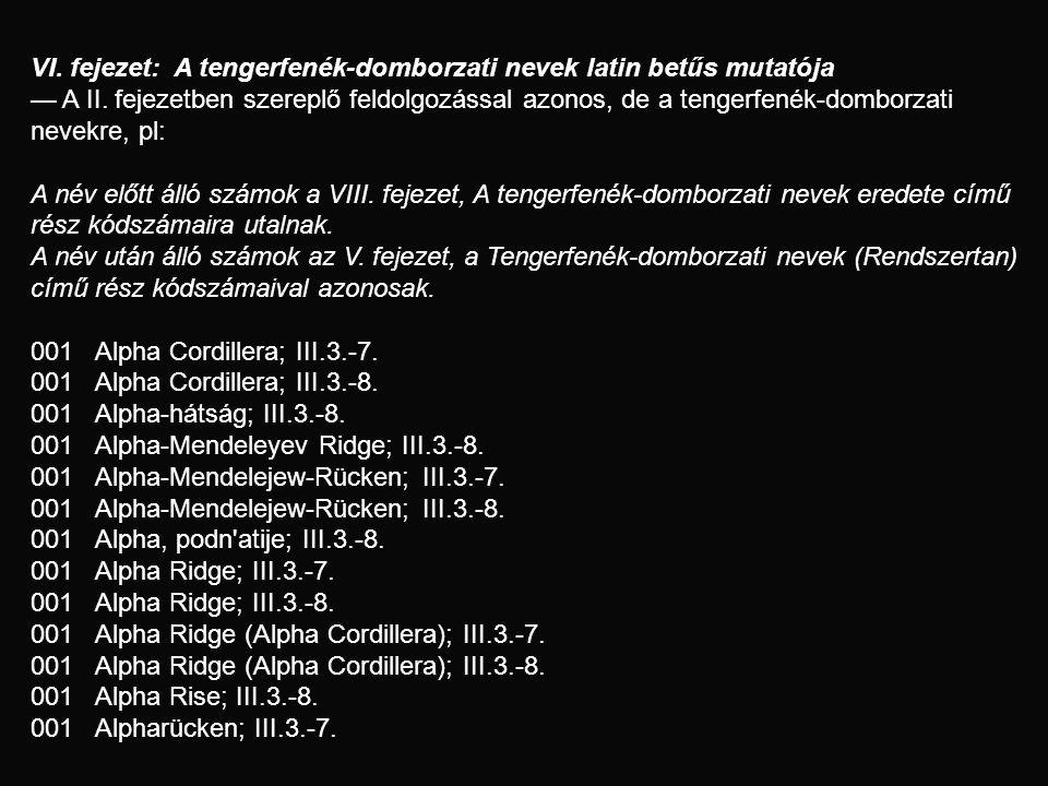 VI. fejezet: A tengerfenék-domborzati nevek latin betűs mutatója