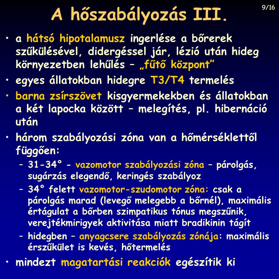 A hőszabályozás III. 9/16.