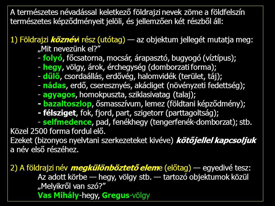 A természetes névadással keletkező földrajzi nevek zöme a földfelszín természetes képződményeit jelöli, és jellemzően két részből áll: