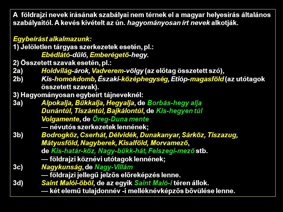 A földrajzi nevek írásának szabályai nem térnek el a magyar helyesírás általános szabályaitól. A kevés kivételt az ún. hagyományosan írt nevek alkotják.