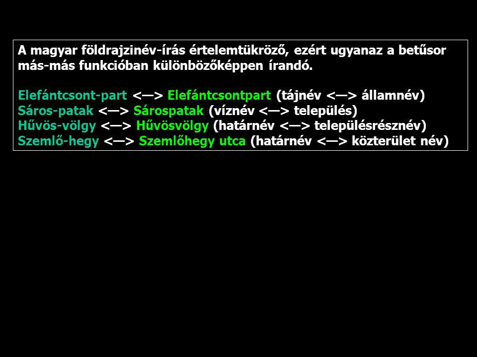 A magyar földrajzinév-írás értelemtükröző, ezért ugyanaz a betűsor más-más funkcióban különbözőképpen írandó.