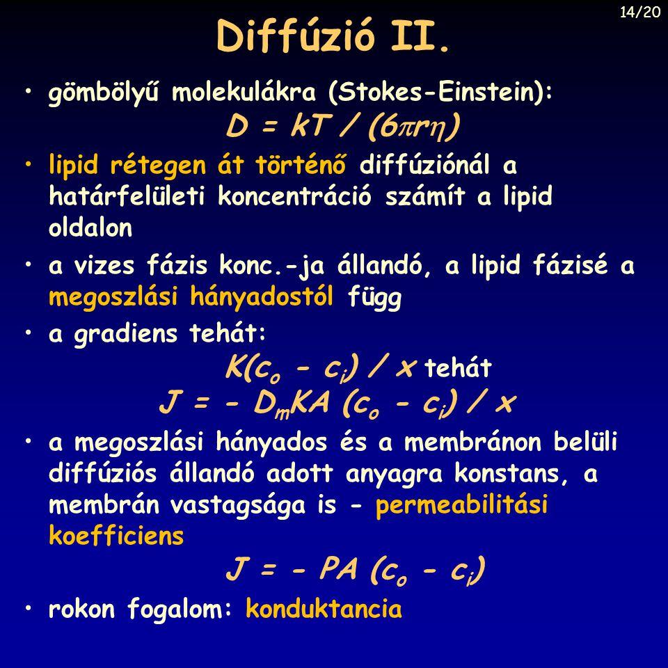 Diffúzió II. gömbölyű molekulákra (Stokes-Einstein): D = kT / (6r)