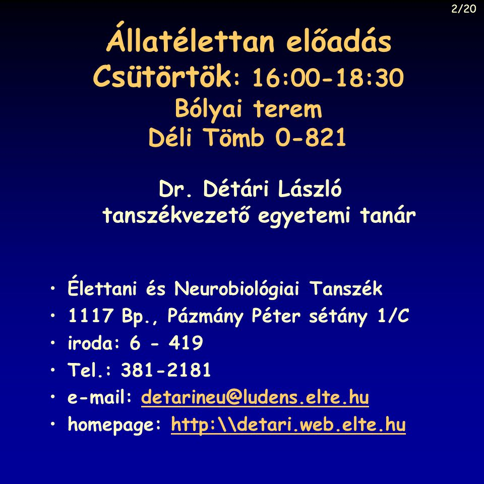 Dr. Détári László tanszékvezető egyetemi tanár