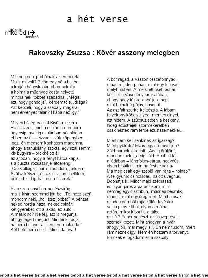 Rakovszky Zsuzsa : Kövér asszony melegben
