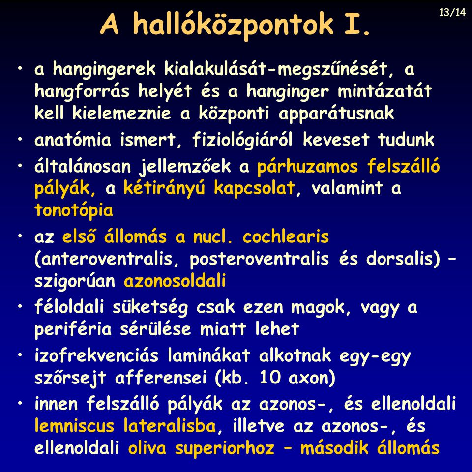A hallóközpontok I. 13/14.