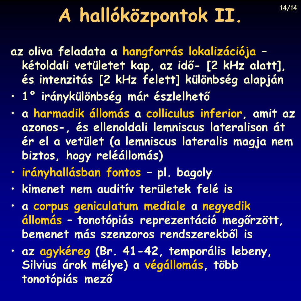 A hallóközpontok II. 14/14.