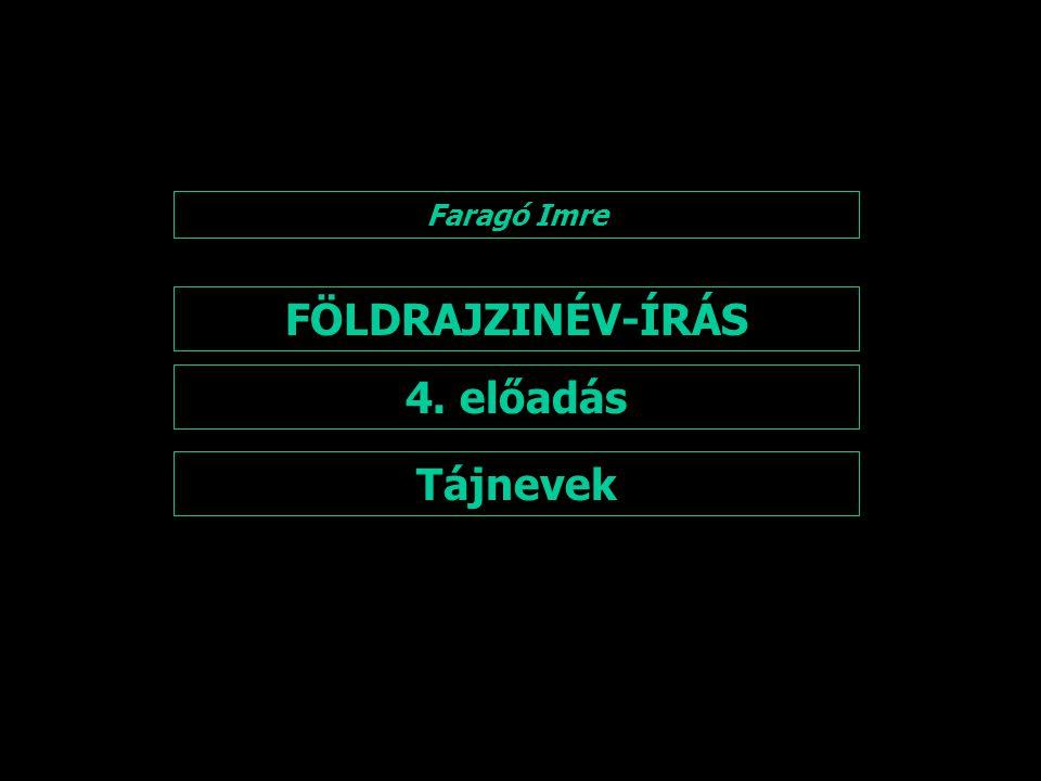 FÖLDRAJZINÉV-ÍRÁS 4. előadás Tájnevek