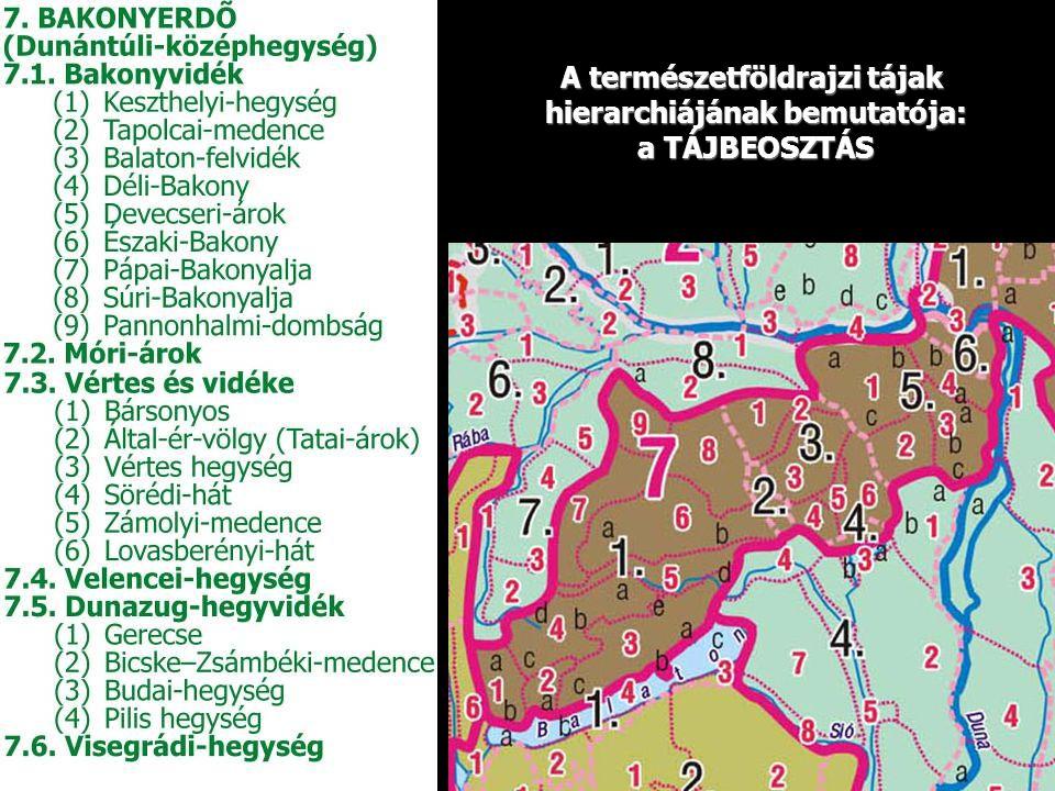 A természetföldrajzi tájak hierarchiájának bemutatója: