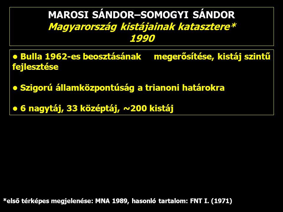 MAROSI SÁNDOR–SOMOGYI SÁNDOR Magyarország kistájainak katasztere*