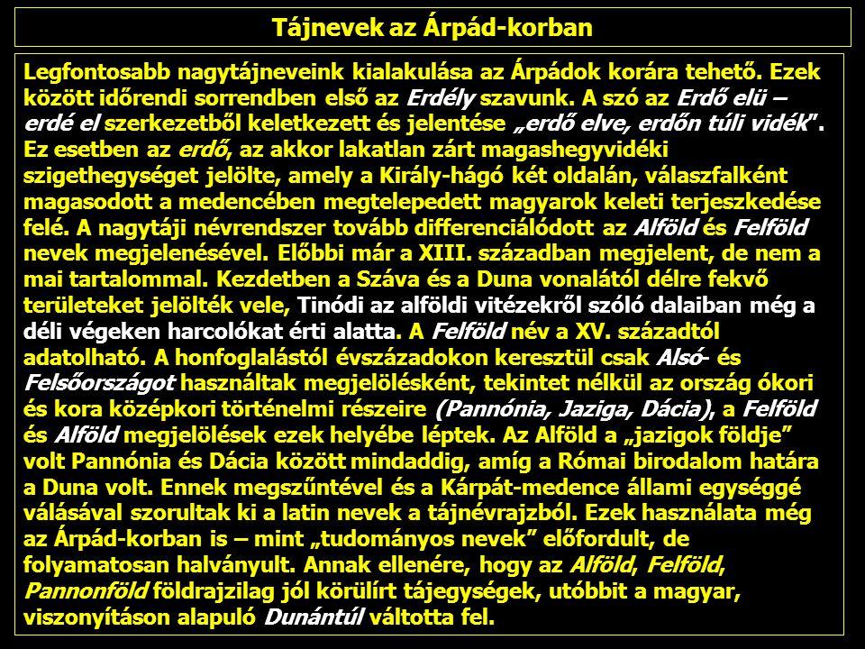 Tájnevek az Árpád-korban