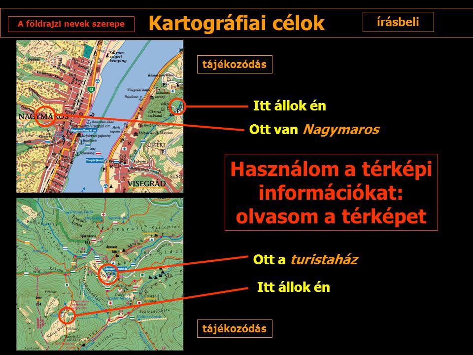 A földrajzi nevek szerepe Használom a térképi információkat: