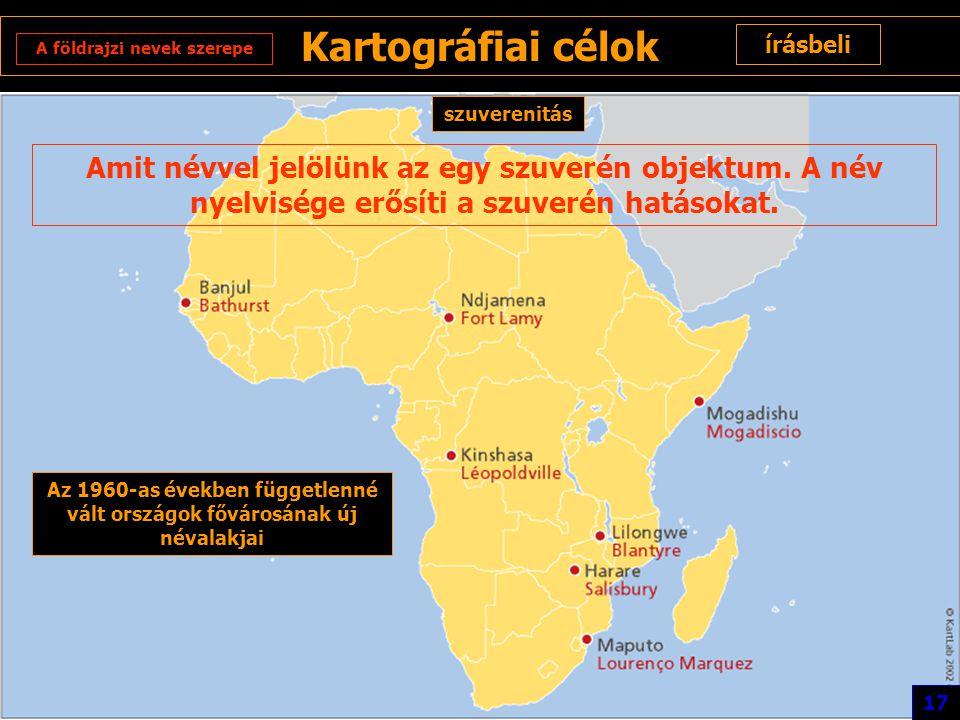 Kartográfiai célok írásbeli. A földrajzi nevek szerepe. szuverenitás.