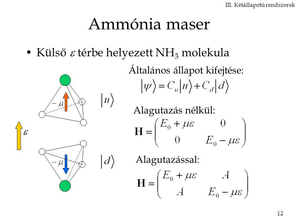 Ammónia maser Külső  térbe helyezett NH3 molekula