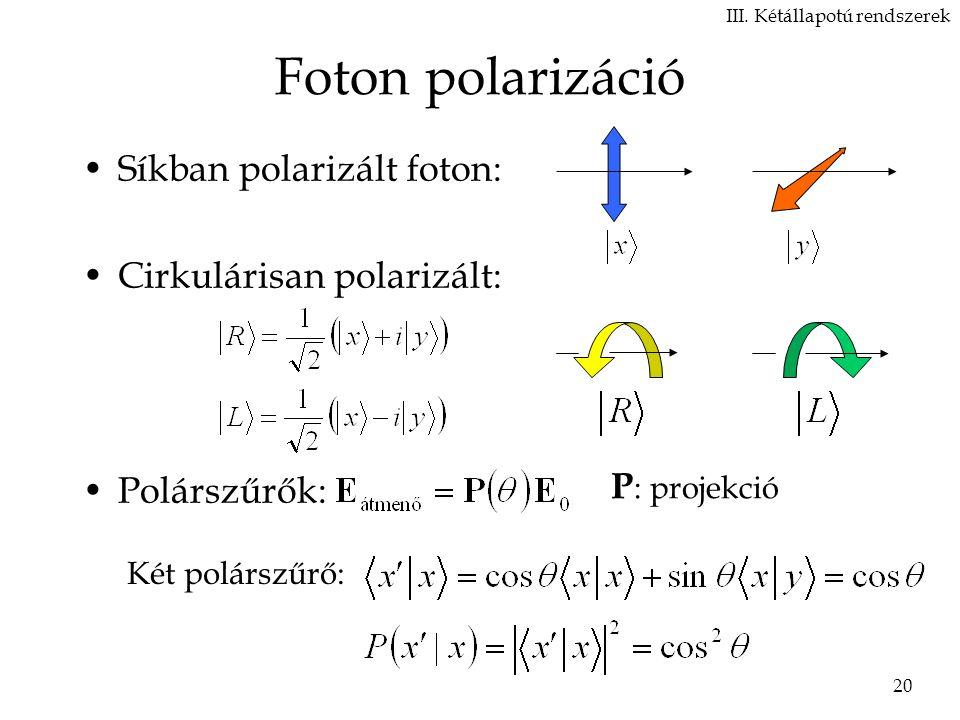 Foton polarizáció Síkban polarizált foton: Cirkulárisan polarizált: